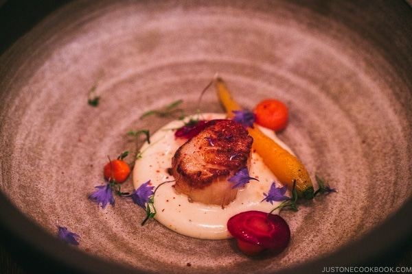 scallop dish at Chasse-Galerie - Montreal Travel Guide   www.justonecookbook.com