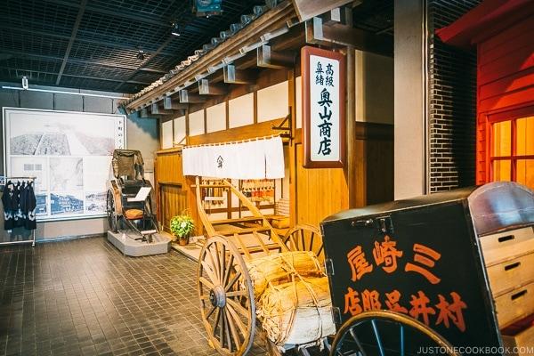 rickshaw and shop inside museum - Tokyo Shitamachi Museum Guide | www.justonecookbook.com