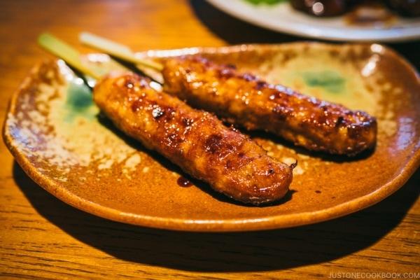 chicken meatball skewer at shunpu banri restaurant - Tokyo Dome City | www.justonecookbook.com