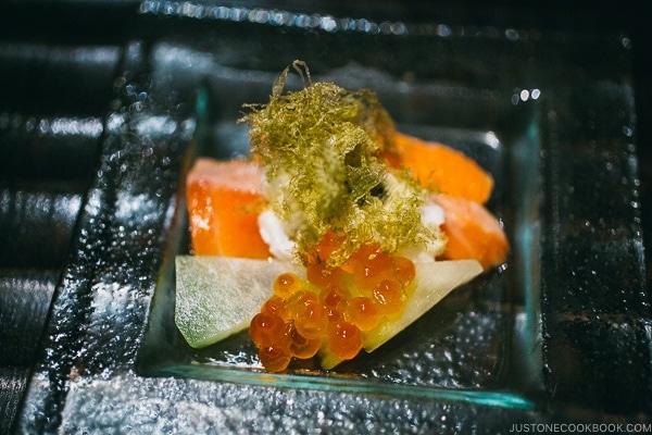 trout appetizer with ikura - Wakuriya Restaurant Review | www.justonecookbook.com