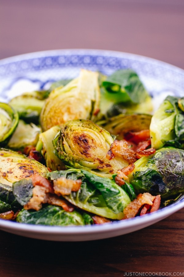 Brussels Sprouts with Bacon Recipe | www.justonecookbook.com