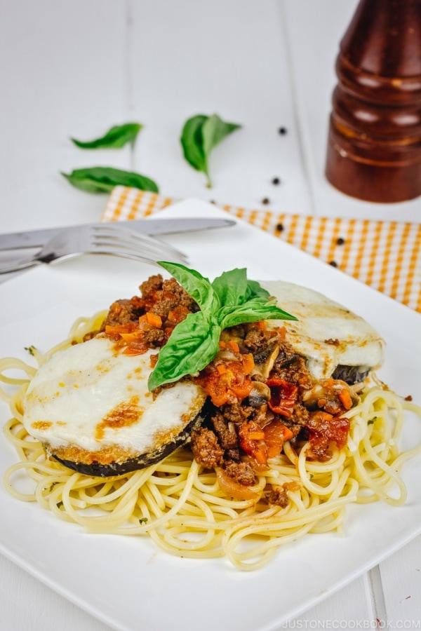 Eggplant Parmesan Spaghetti Recipe | www.justonecookbook.com