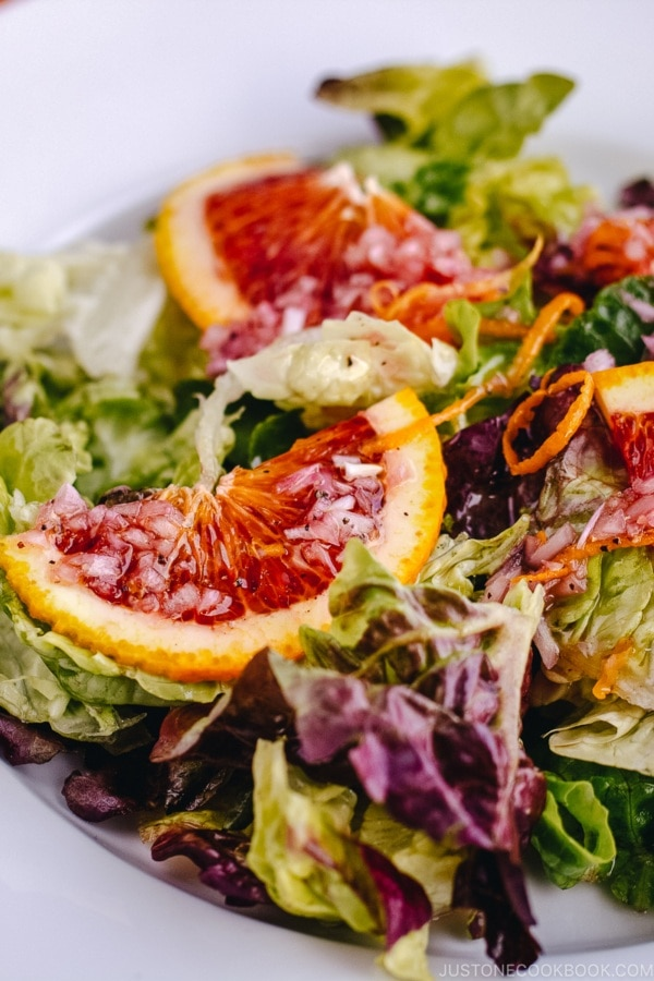 Green Salad with Blood Orange Vinaigrette | www.justonecookbook.com