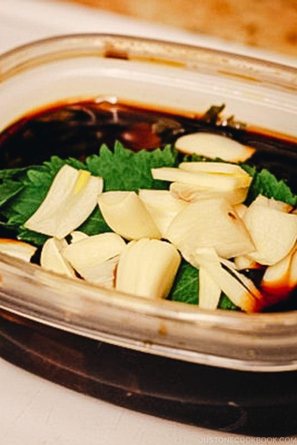 Shiso Garlic Soy Sauce | www.justonecookbook.com