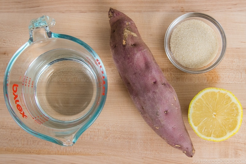 Simmered Sweet Potatoes with Lemon Ingredients