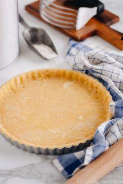 Sweet tart crust getting ready for a blind bake.