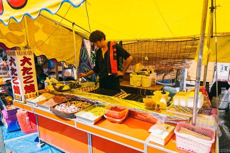 summer festival food stall vendor selling takoyaki - Tokyo Asakusa Travel Guide | www.justonecookbook.com