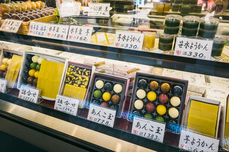 traditional Japanese sweets on Nakamise Dori - Tokyo Asakusa Travel Guide | www.justonecookbook.com