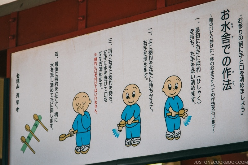 sign explaining how to clean hands at omizuya near Sensoji - Tokyo Asakusa Travel Guide | www.justonecookbook.com