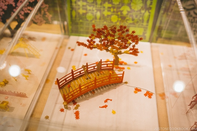 paper sculpture of bridge and tree at Tokyo Skytree Town - Tokyo Skytree Guide | www.justonecookbook.com