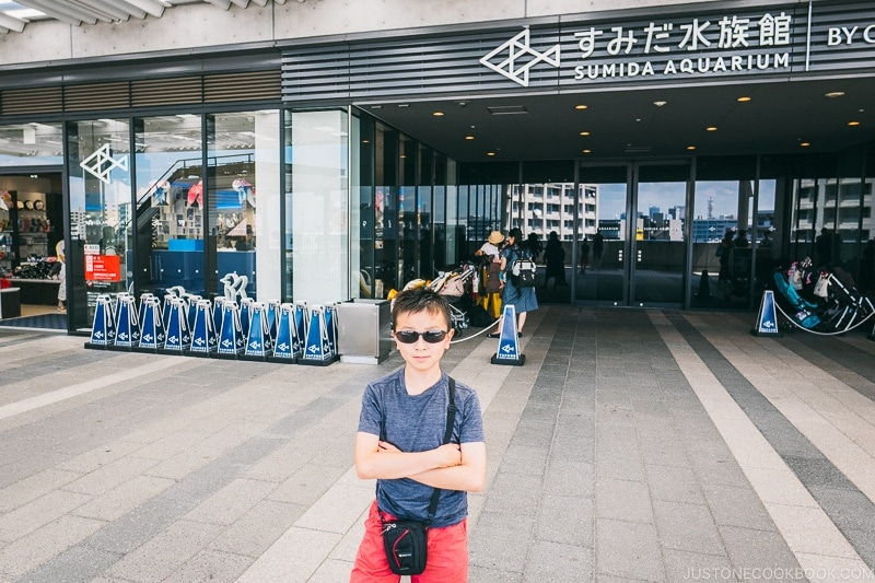 child in front of Sumida Aquarium - Tokyo Skytree Guide | www.justonecookbook.com