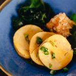 Ankimo served on a blue plate.