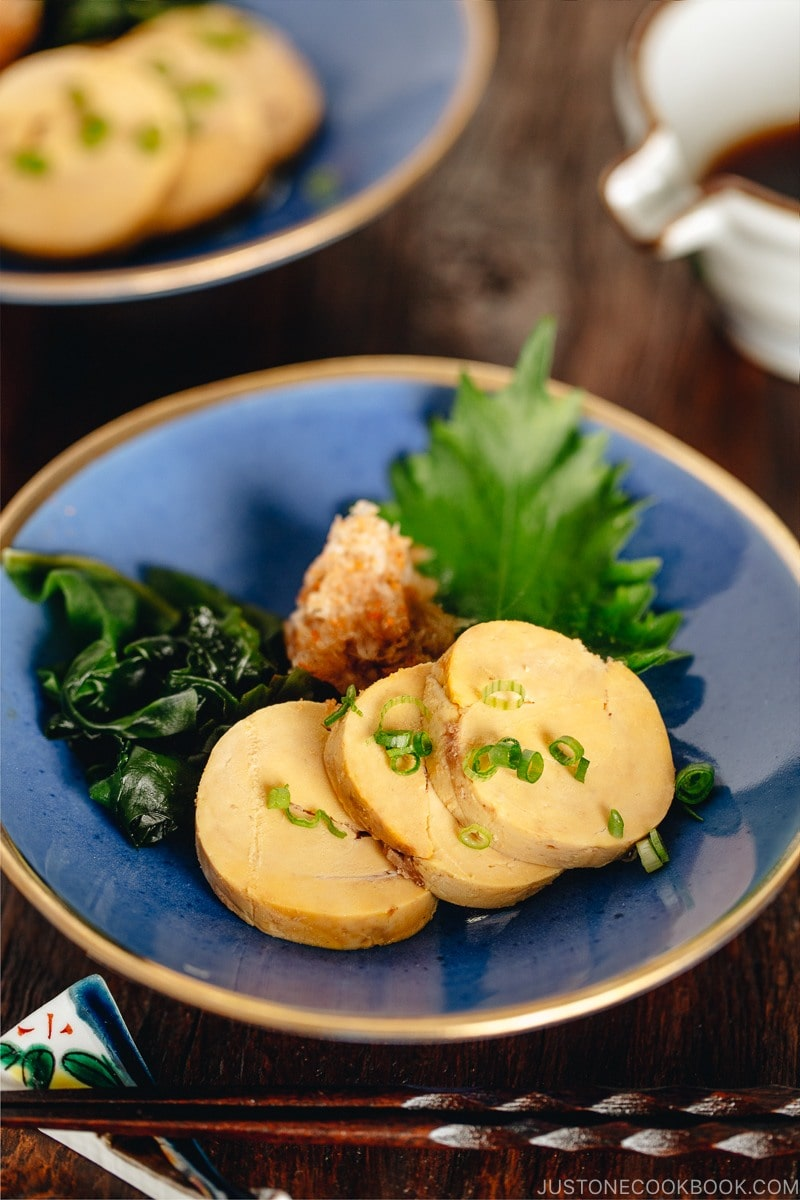 Ankimo served on a blue plate.