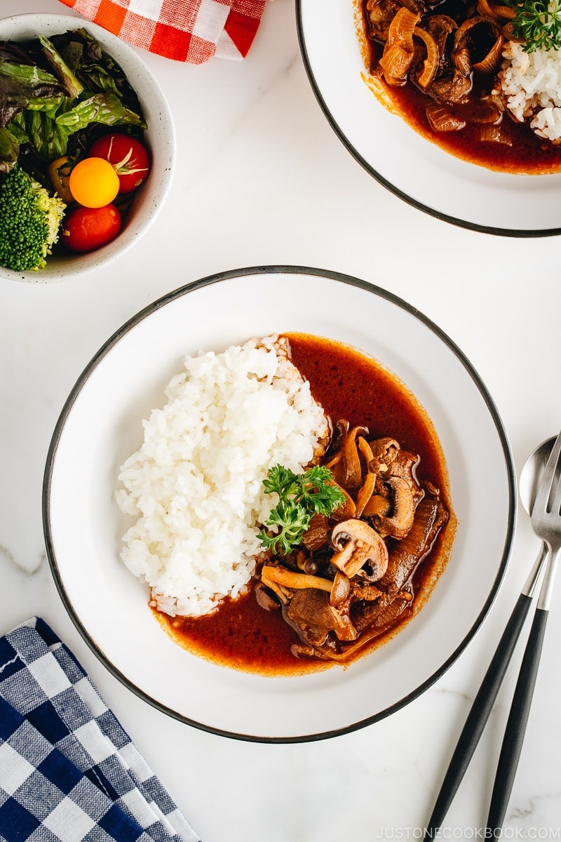 Hayashi Rice (Hashed Beef) served over rice.