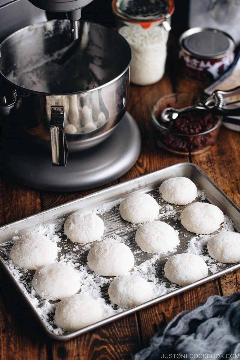 Fresh homemade mochi made with a stand mixer.