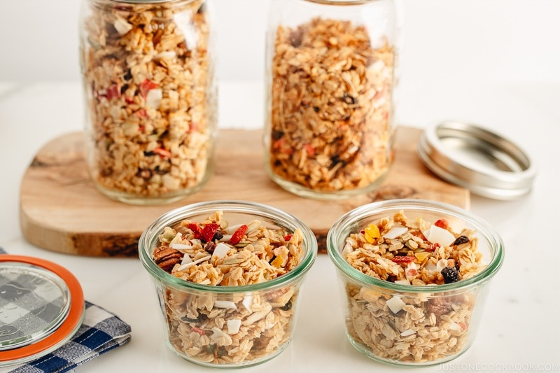 Homemade granola in Weck jars.