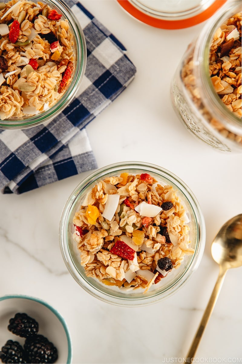 Easy healthy homemade granola recipe packed with nuts and dried fruits.