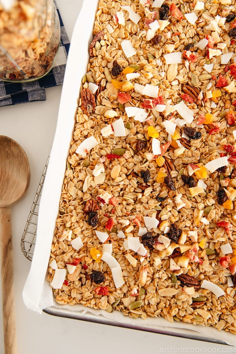 Homemade granola in the baking sheet.
