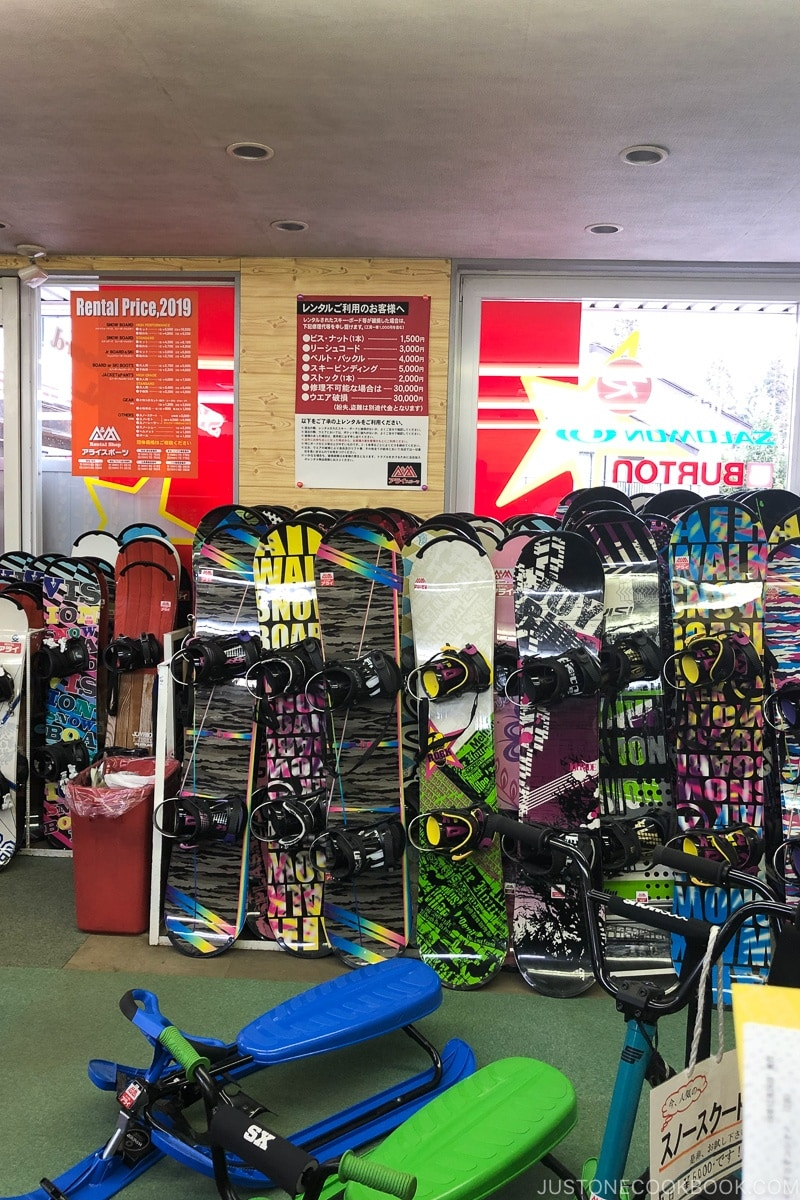 snowboards inside Arai Sports rental shop at Tsugaike - Hakuba Travel and Ski Guide | www.justonecookbook.com