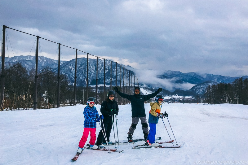 people on skis and snowboard at Tsugaike Ski Resort - Hakuba Travel and Ski Guide | www.justonecookbook.com