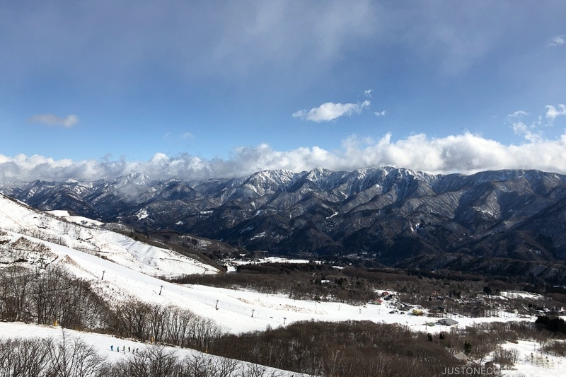 view of ski trail amd mountains from the gondola at Tsugaike Ski Resort - Hakuba Travel and Ski Guide | www.justonecookbook.com