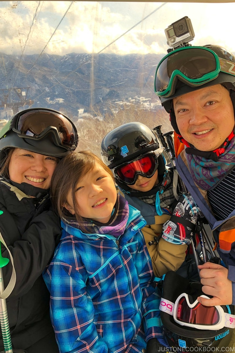 Just One Cookbook family on the gondola at Tsugaike Ski Resort - Hakuba Travel and Ski Guide | www.justonecookbook.com