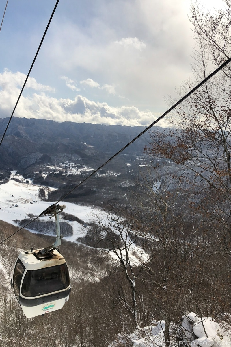 view of a gondola heading down the hill at Tsugaike Ski Resort - Hakuba Travel and Ski Guide | www.justonecookbook.com