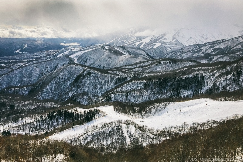view of Hakuba Iwatake Ski Field from Tsugaike Ski Resort - Hakuba Travel and Ski Guide | www.justonecookbook.com