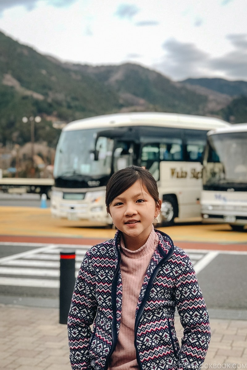 child standing at a highway rest stop in Japan - Hakuba Travel and Ski Guide | www.justonecookbook.com