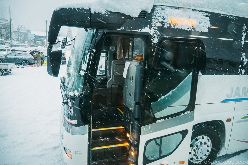 bus waiting for passengers - Hakuba Travel and Ski Guide | www.justonecookbook.com
