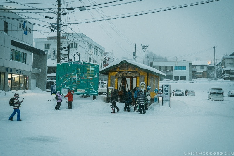 bus stop for Tsugaike Ski Resort - Hakuba Travel and Ski Guide | www.justonecookbook.com