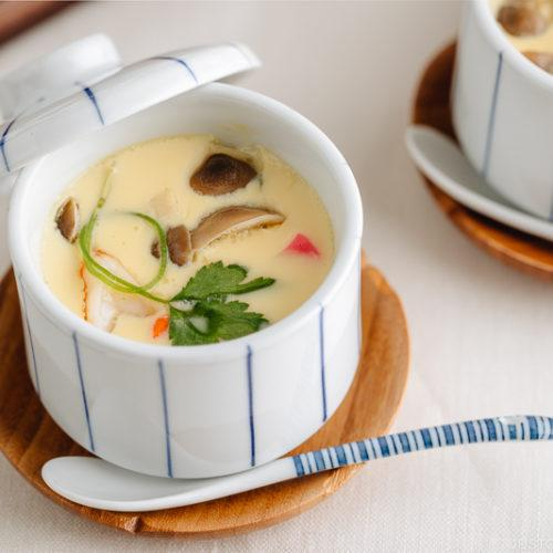Silky and savory Japanese steamed egg custard Chawanmushi in a cup.