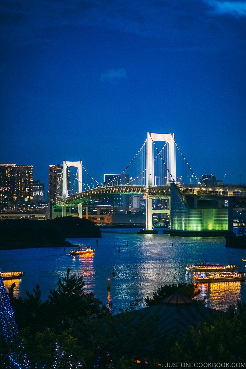 nighttime view of Rainbow Bridge from Odaiba - Tokyo Odaiba Travel Guide | www.justonecookbook.com