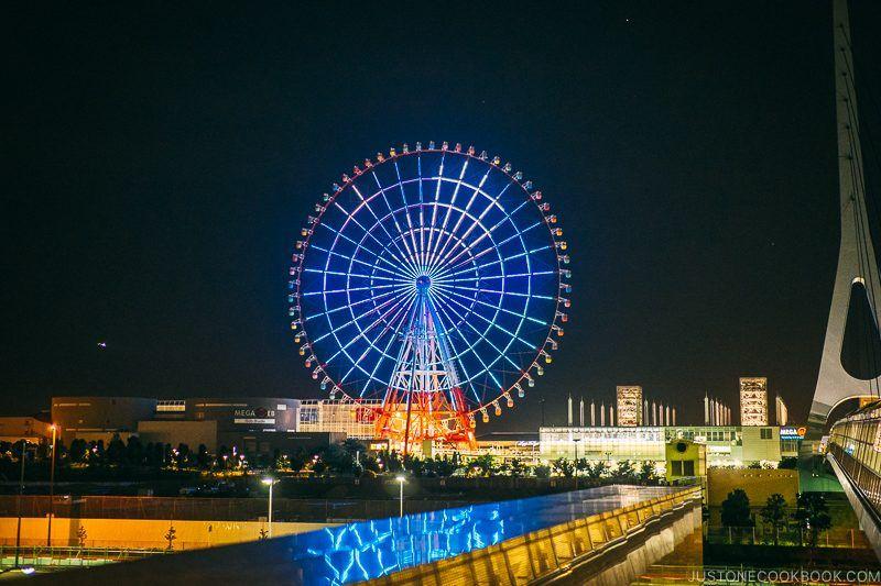 nighttime view of Palette Town Daikanransha - Tokyo Odaiba Travel Guide | www.justonecookbook.com