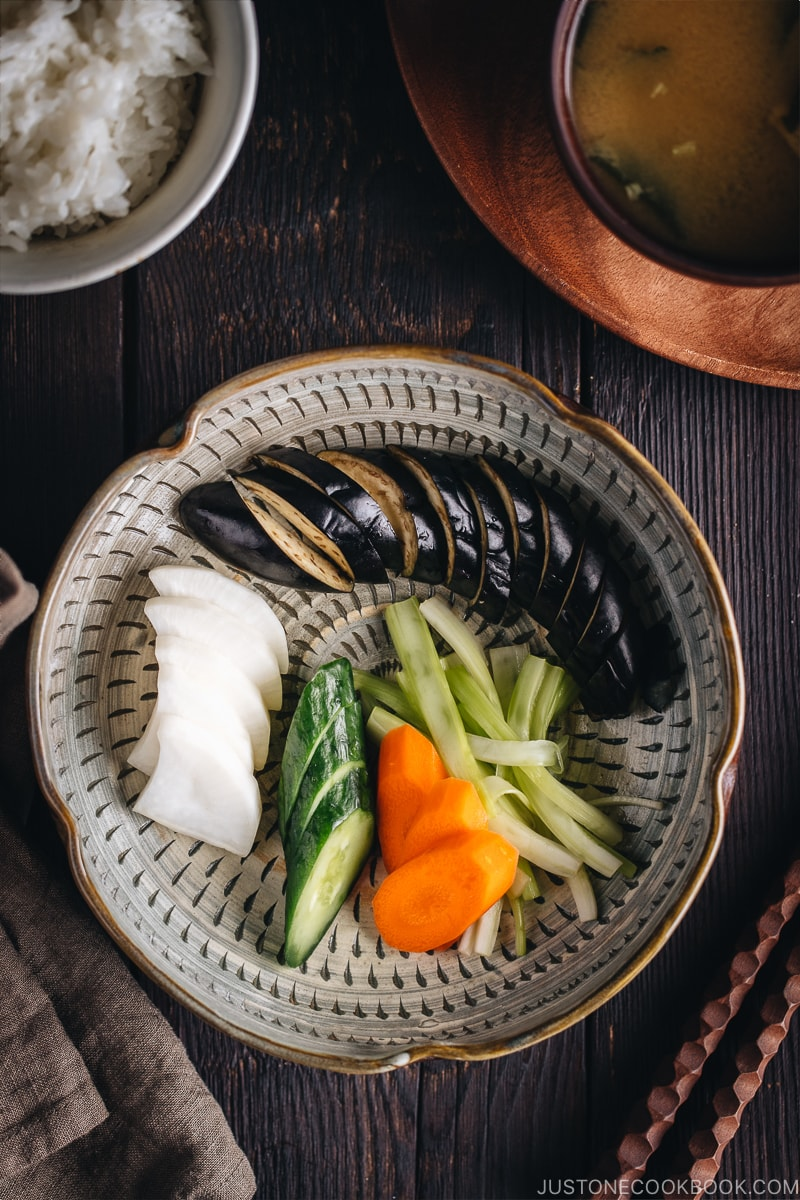 Tsukemono easy Japanese pickled vegetables featuring carrots, cucumbers, eggplants and daikon