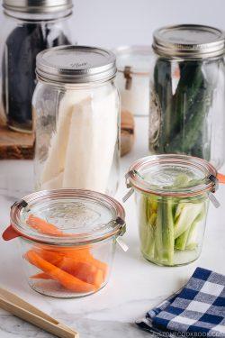 Tsukemono in mason jars.