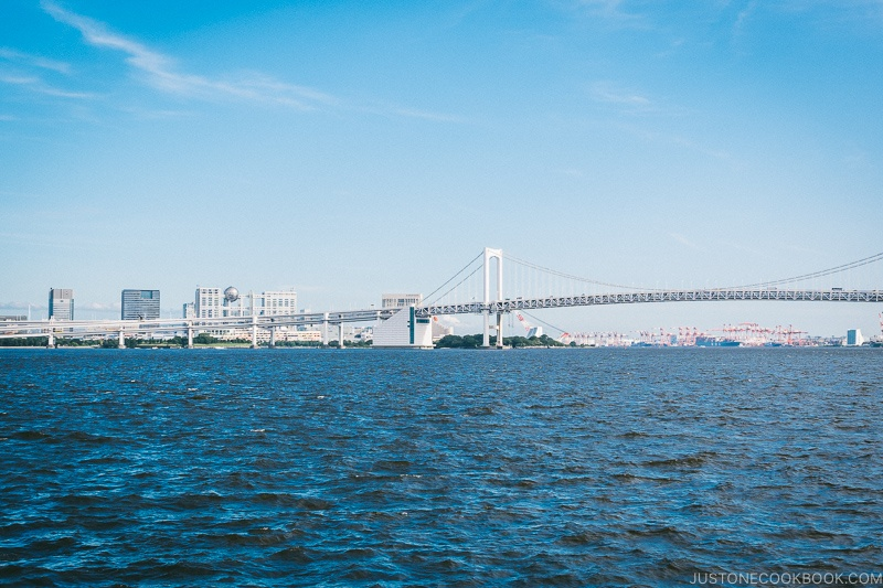 view of Odaiba and Rainbow Bridge - Tokyo Cruise | www.justonecookbook.com