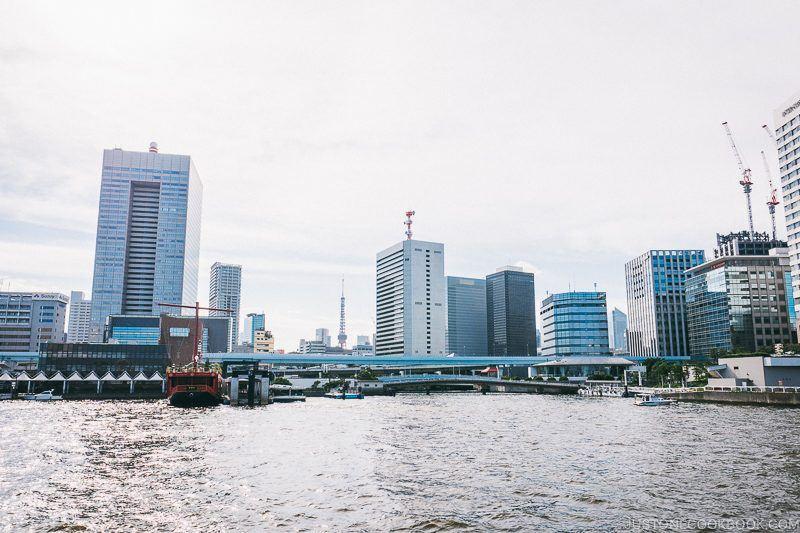 Hamamatsucho Station and Tokyo Tower from Sumida River - Tokyo Cruise | www.justonecookbook.com