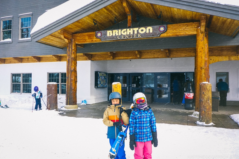 children in front of Brighton Center - Ski Vacation Planning in Utah | www.justonecookbook.com