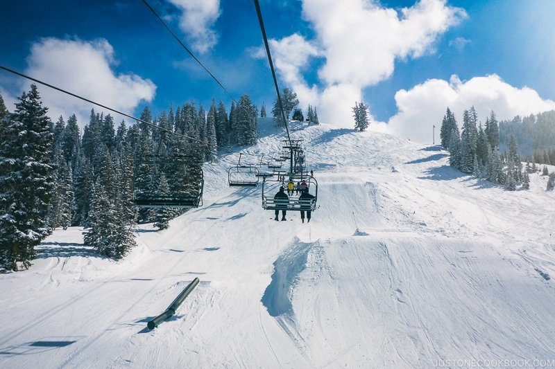 looking at the ski run from the Majestic ski lift - Ski Vacation Planning in Utah | www.justonecookbook.com