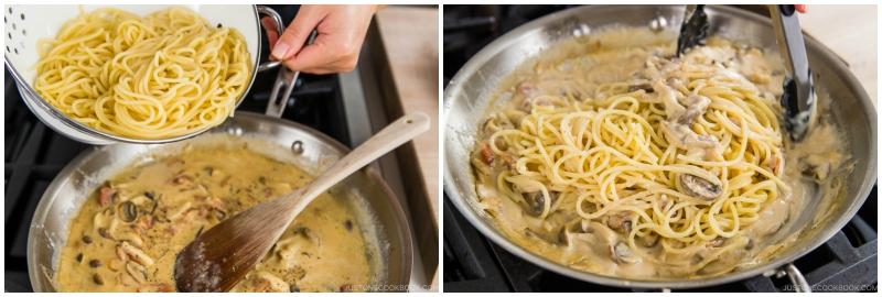 Creamy Mushroom Bacon Spaghetti 12