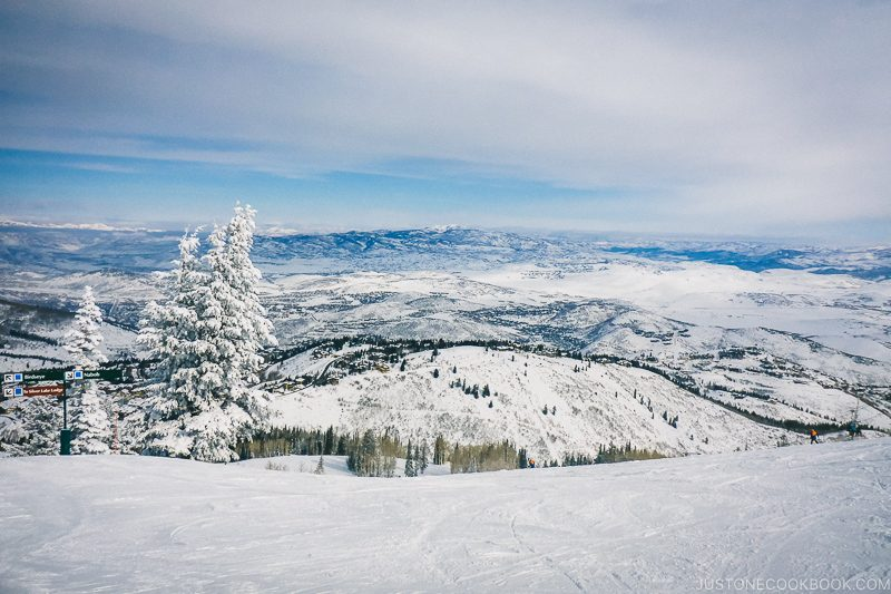 beautiful snow covered mountain scenery at Deer Valley - Ski Vacation Planning in Utah | www.justonecookbook.com