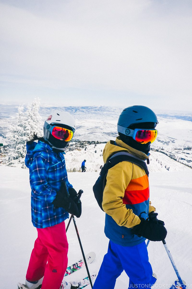 children getting ready to ski at Deer Valley - Ski Vacation Planning in Utah | www.justonecookbook.com