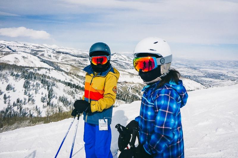 children getting ready to ski at Deer Valley - Ski Vacation Planning in Utah   www.justonecookbook.com