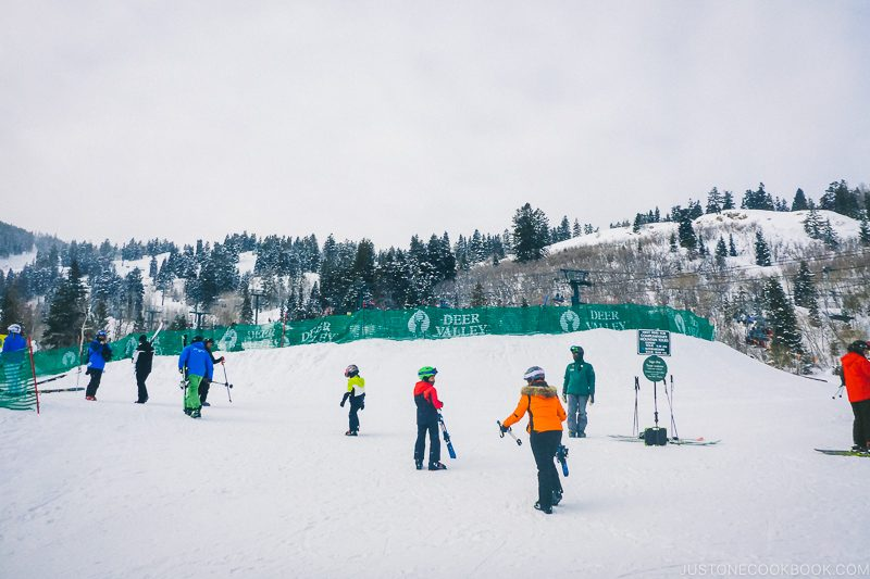 skiers at Deer Valley - Ski Vacation Planning in Utah | www.justonecookbook.com