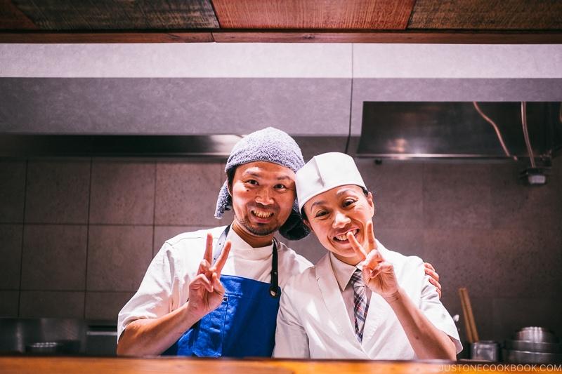 Chef Zaiyu Hasegawa and sous chef - Restaurant Den Tokyo | www.justonecookbook.com