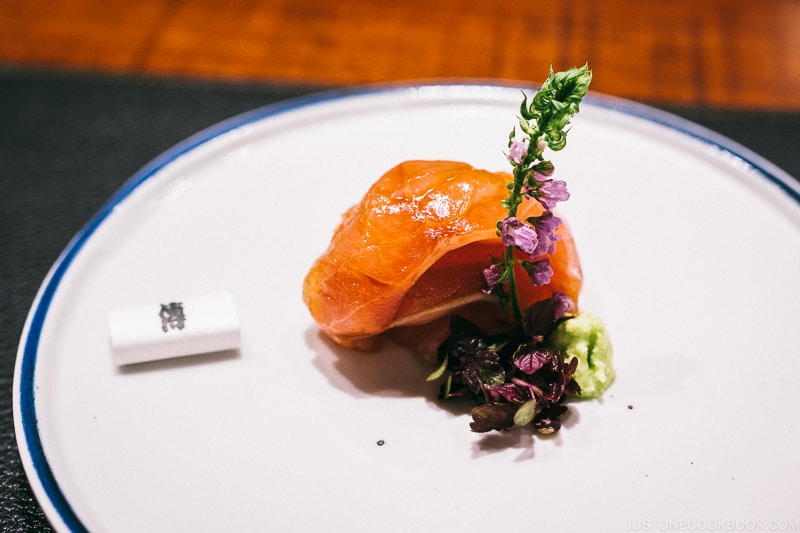 5-day aged Japanese bluefish (Bigeye or called Kuromutsu) marinated with soy sauce and served with wasabi - Restaurant Den Tokyo | www.justonecookbook.com