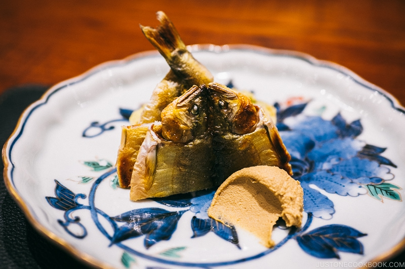 Dried Ayu, Ayu liver paste and rice bread colored with smartweed - Restaurant Den Tokyo | www.justonecookbook.com