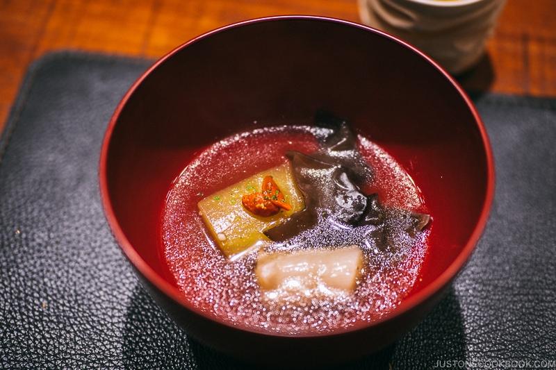 Beef sinew, wax gourd andcloud ear mushroom - Restaurant Den Tokyo | www.justonecookbook.com