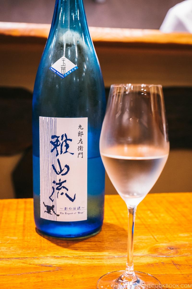 Gasanryu sake in a wine glass - Restaurant Den Tokyo | www.justonecookbook.com